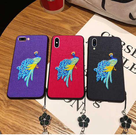 Chinese Traditional Embroidery Peacock Style Soft Silicone Protective Case For Meizu 16th/16th Plus/16X/15Plus/X8/M6 Note
