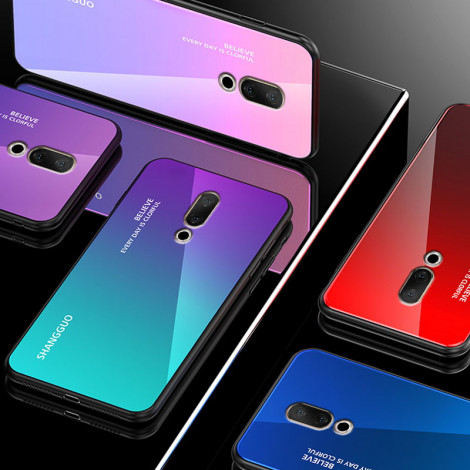 Gradual Change Style Tempered Glass Back Cover TPU Bumper Protective Case For Meizu 15/Meizu 15 Plus