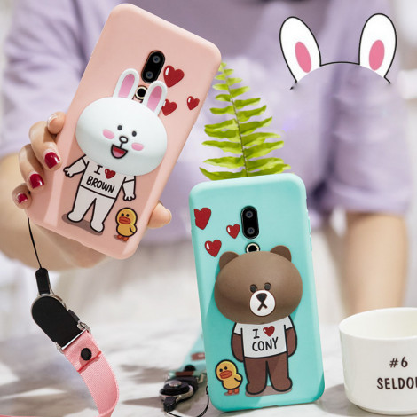 Lovely Cartoon Soft Silicone Multi-Function Protective Back Case For Meizu 16/16 Plus/16X