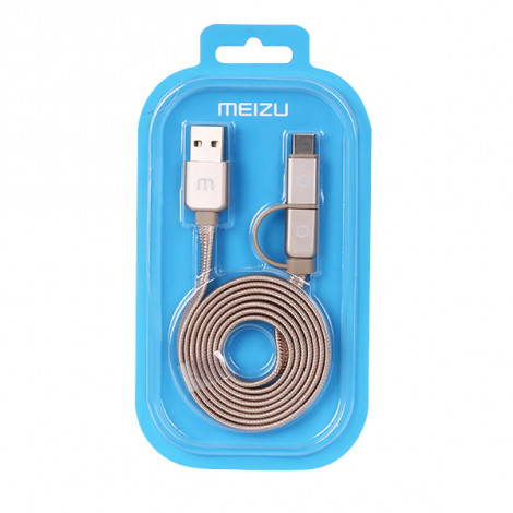 Original Meizu Type-C & Micro USB 2 In 1 Metal Data Sync Charge Cable For Meizu MX6 / Pro 7/ Pro 6/ MX5/MX4 /MX4 Pro/ M6 /M6 Note /M5 /M5S /M5 Note/M3 Note