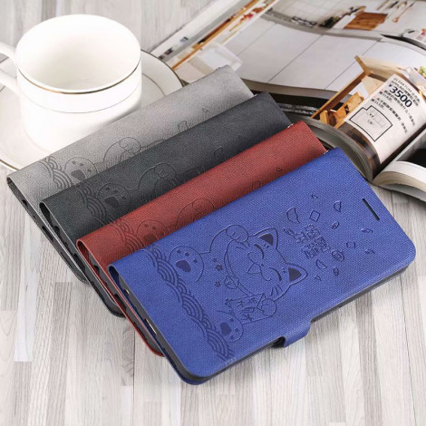Vintage Good Luck Dog Classic Flip Leather Protective Case For Meizu X8/M8 Note