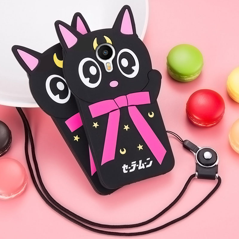 Lovely Carton Cat Soft Silicone Protective Case With Lanyard For Meizu M3 Note/M2 Note/Metal