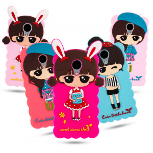 3D Cartoon Soft Silicone Lovely Girl Series Protective Case With Lanyard For Meizu M5S/M3/M3S