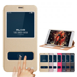 ALIVO Dual Window View Leather Flip Cover For Meizu M3E