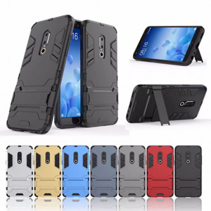 Armor Style Full Protection Simple Silicone Protective Case With Stand Function For Meizu 15/15 Plus