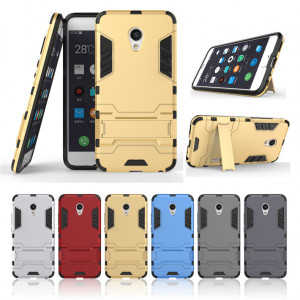 Armor Style Full Protection Simple Silicone Protective Case With Stand Function For Meizu MX6