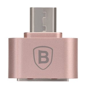 BASEUS 2.1A Micro OTG Plug-and-Play Adapter Converter (Rose Gold)