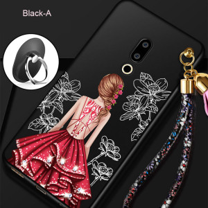 Beautiful Girl Series Ultra Thin Micro Frosted Soft Silicone Back Cover Case For Meizu 15/Meizu 15 Plus/M15