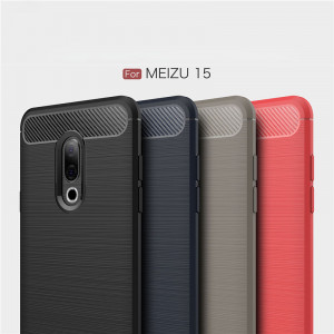 Carbon Fiber Brushed Grain Ultra Thin Soft Silicone Full Surround Back Cover Case For Meizu 15/15 Plus