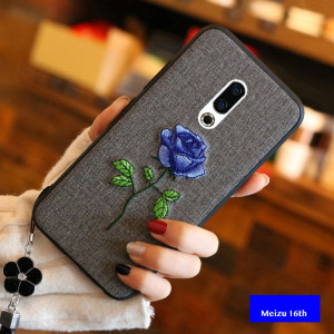 Chinese Traditional Embroidery Flower Style Soft Silicone Protective Case For Meizu 16th/16th Plus/15/15Plus/M6S/E3