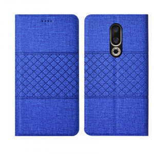 Cotton Fiber Grid Texture Classic Flip PU Leather Protective Case For Meizu X8/M8/V8/16X