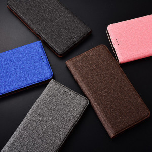 Cotton Fiber Texture Classic Flip PU Leather Protective Case For Meizu 16s Pro
