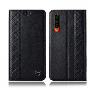 Fashionable Grid Texture Genuine Leather Flip Protective Case For Meizu 16T