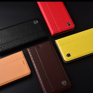 Fashionable Grid Texture Genuine Leather Flip Protective Case For Meizu 16th/16th Plus/16X/16XS