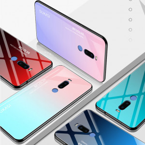 Gradual Change Style Tempered Glass Back Cover TPU Bumper Protective Case For Meizu X8/M8 Note/M6 Note