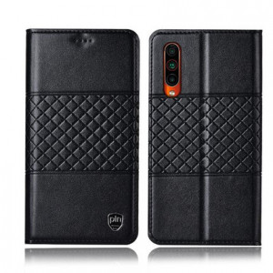 High Quality Genuine Leather Grid Texture Flip Protective Case For MEIZU 16T
