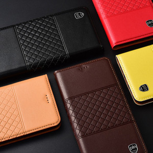 High Quality Genuine Leather Grid Texture Flip Protective Case For Meizu 16X/X8/M8/V8