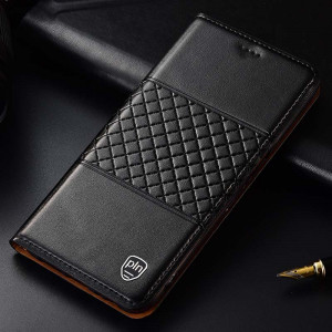 High Quality Genuine Leather Grid Texture Flip Protective Case For MEIZU 16XS/16S