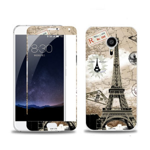 Meizu Pro5 Colorful Tempered Glass With Fashion PC Painting Relief Back Case