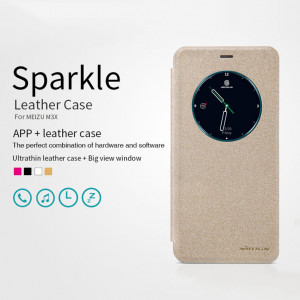 New Smart Sparkle Leather Protective Case With Big View Window For Meizu M3X