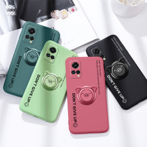 Ultra Thin Soft Silicone Back Cover Case With Pig Ring Holder For MEIZU 18X