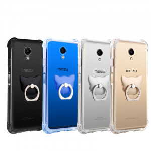Ultra Thin Transparent Soft TPU Anti-drop Protective Back Case With Ring Holder For Meizu M6S