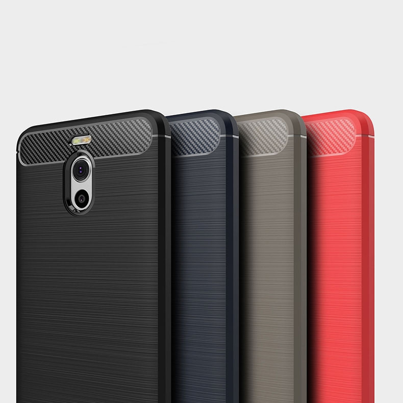 Carbon Fiber Brushed Grain Ultra Thin Soft Silicone Full Surround Back Cover Case For Meizu M6 Note / M5 Note