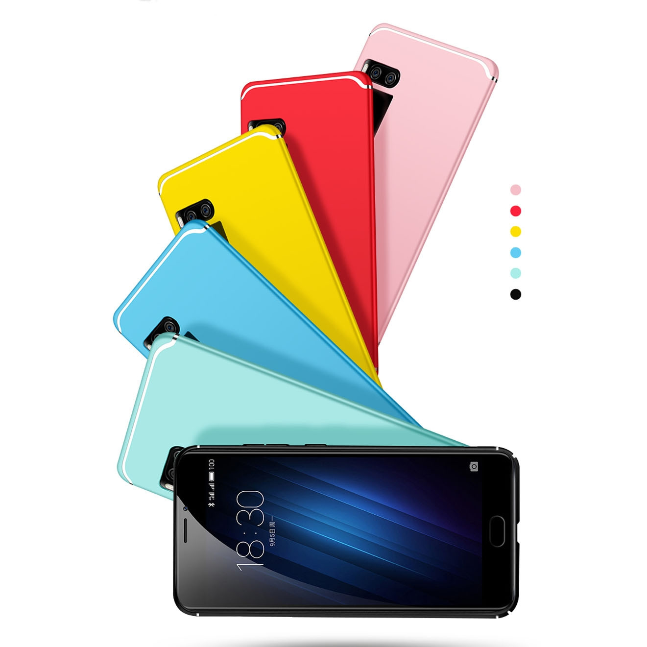 Colorful Full Surround Micro Frosted PC Hard Cover Case For Meizu Pro 7 / Pro 7 Plus