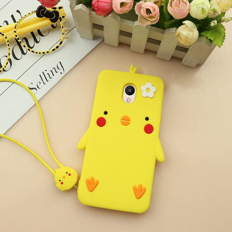 Lovely Chick Style Cartoon Soft Silicone Protective Case With Lanyard For Meizu M6 Note / M6