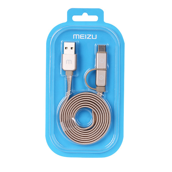 Original Meizu Type-C & Micro USB 2 In 1 Metal Data Sync Charge Cable
